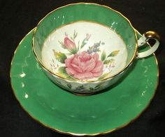AYNSLEY ENGLAND LARGE PINK ROSE CENTER GREEN GOLD TEA CUP AND SAUCER