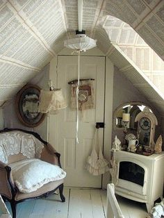 cozy quiet nook.. <3 <3 <3 the book page wall covering! so sHabby cHic (good ideas for such a small space, but I would use maps or newspaper, or handwritten pages or even wallpaper)