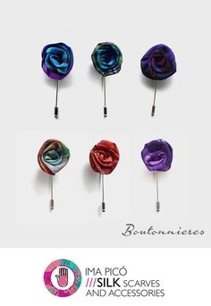 Silk flower lapel pins for men. Boutonnieres by Ima Picó.