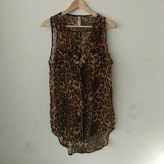 Sleeveless Leopard Shear Top Leopard button down top Tops Button Down Shirts
