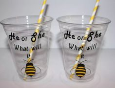 Bee Gender reveal gender reveal party cups by ohsoaudreycreations