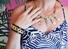 Lilly Pulitzer Dusk Strappy Silk Top in Oh Cabana Boy, with @baublebar jewels
