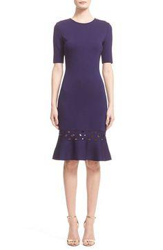 St. John Collection Diamond Eyelet Ruffle Hem Crepe Knit Dress available at #Nordstrom