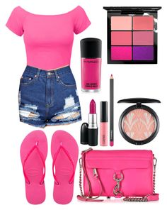 """""""Everyday Wear 103"""" by abbsjaggs ❤ liked on Polyvore featuring LE3NO, Havaianas, MAC Cosmetics and Rebecca Minkoff"""