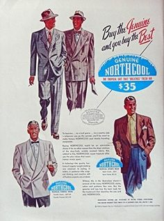 Northcool Clothes  40 s Print Ad  Color Illustration  men s fashions  1948 Life Magazine Art