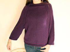 Hand Knit Sweater Women Purple Sweater Oversize Loose Knit Sweater Dark Purple Sweater Knit Jumper Loose Pullover Spring Summer Fall Fashion by LovekaKnitting on Etsy