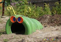 Creative Car-Tire Caterpillar!