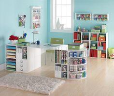 I like the rounded corner shelves on this desk