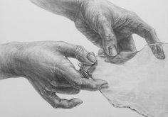 Scherbe Glasscheibe Fensterglas Hände zeichnen