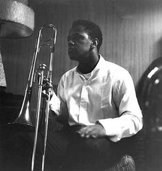 Slide Hampton at Rudy Van Gelder's studio, Blue Note recording session - photo…