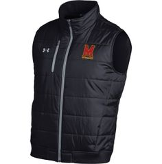 Stay bundled up in the stands this season with the Under Armour® Men's Maryland Terrapins Filled Knit Vest. This woven full zip vest sports a team logo on the left chest that will let your rivals know who you're rooting for. The ribbed inner collar and waistband provide added warmth so you can shout team chants on even the coldest days while the two side seam and one media pocket hold your essentials.