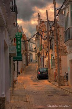 Narrow street in Chiclana de la Frontera, Spain