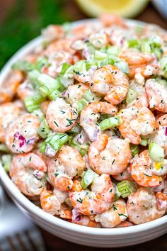 Shrimp Salad Recipe [Video] - Sweet and Savory Meals Creamy Shrimp Salad Recipe, Prawn Salad, Shrimp Salad Recipes, Salad Recipes Video, Salad Recipes For Dinner, Fish Recipes, Seafood Recipes, Healthy Recipes, Shrimp Salads
