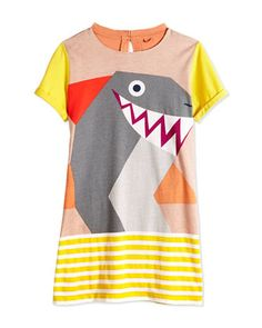 Short-Sleeve Shark-Print Jersey Dress, Multicolor, Size 2Y-14Y by Stella McCartney at Bergdorf Goodman.
