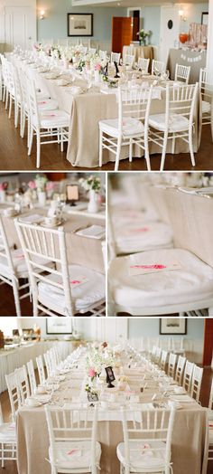 white chivari chairs with pale khaki, pink, yellow, or peach linens would look great for a shabby chic style