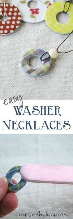 DIY Washer Necklace Tutorial- these make great gifts! DIY Washer Necklace Tutorial- these make great gifts! Washer Necklace Tutorial, Diy Necklace, Necklace Holder, Necklace Ideas, Washer Bracelet, Collar Necklace, Necklace Designs, Gold Necklace, Homemade Jewelry