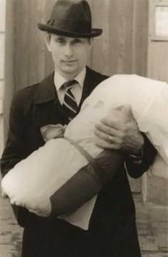 Putin and his daughter Maria. Leningrad (Sankt-Peterburg). 1985