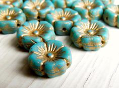 Egyptian Mint Lil' Blooms   12 mm matte by thecuriousbeadshop