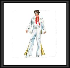 PATTERN-McCALLS-Mens-Elvis-JumpSuit-Belt-Bell-Bottoms-S-M-L-5734 Mccalls Patterns, Sewing Patterns, Elvis Costume, Bell Bottoms, Duster Coat, Jumpsuit, Belt, Costumes, Best Deals