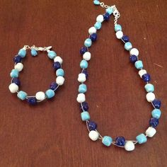Baked Beads. Matching Bracelet And Necklace.