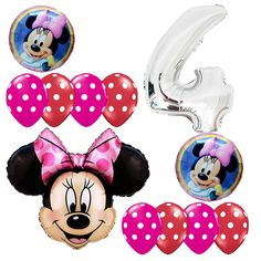 4th Birthday Party Minnie Mouse Fourth Foil Balloons Bouquet Silver Polka dots #Disney #BirthdayChild