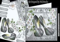 Silver stripe and green shoes with flowers 8x8 mini kit on Craftsuprint - Add To Basket!