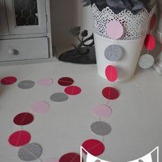 guirlande pastilles rondes fuchsia rose argent paillettes dcoration chambre enfant bb dcoration mariage - Deco Gris Et Rose Chambre Fille