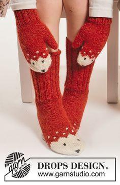 Miss Fox / DROPS Extra 0-1217 - Settiin kuuluu: Kettukuvioiset DROPS käsineet, myssy ja sukat Alpaca-langasta. Koot 0 kk - 14 v.