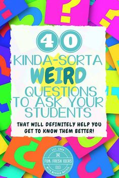 Middle school classroom - 40 Weird Questions to Ask Your Students to Help You Get to Know them Better – Middle school classroom Future Classroom, School Classroom, Classroom Activities, Classroom Ideas, Middle School Activities, Games For School, Middle School Procedures, Grade 8 Classroom, Middle School Advisory
