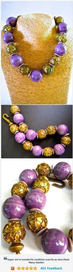 Purple Etruscan Revival Necklace, Ceramic Brass, Massive, Runway, Vintage https://www.etsy.com/renaissancefair/listing/549764919/purple-etruscan-revival-necklace-ceramic?ref=listings_manager_grid