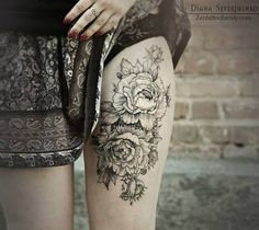 Vintagey floral leg tattoo! I was thinking on the back and add both of my daughters names as vines