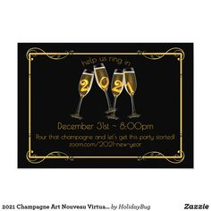 2021 Champagne Art Nouveau Virtual New Year's Eve Invitation New Years Eve Invitations, Holiday Invitations, Custom Invitations, Invitation Cards, Party Invitations, Art Nouveau, Bar Cart Decor, Champagne Party, New Year Card
