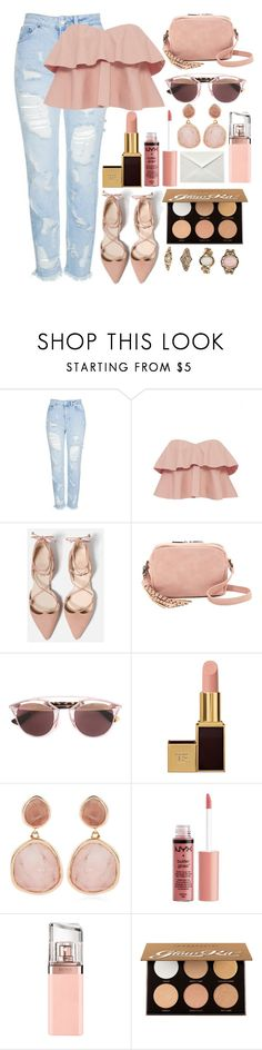 """""""👛"""" by burcaak ❤ liked on Polyvore featuring Topshop, Rebecca Taylor, Deux Lux, Christian Dior, Tom Ford, Monica Vinader, Charlotte Russe, HUGO, Anastasia Beverly Hills and Forever 21"""