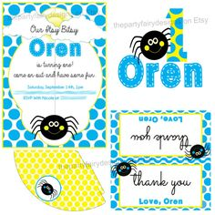 Itsy Bitsy Spider first birthday printable custom personalized party package in blue and yellow by thepartyfairydesigns on Etsy $20 #birthday #parties #kids