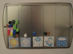 Keeping track of the weather each day for the month.  Can extend into a counting and graphing activity. Cool!