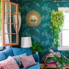 Aja Wallpaper by Justina Blakeney - Teal from The Jungalow Eclectic Living Room, Boho Living Room, Eclectic Decor, Living Spaces, Living Rooms, Teal Rooms, Teal Walls, Teal Wallpaper, Justina Blakeney