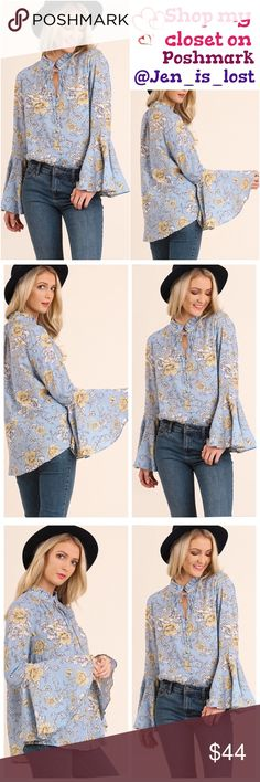COMING SOON Floral Print Top with Bell Sleeves and a Split Mock Neckline  Color: Sky Mix Fabric: COTTON BLEND Tops