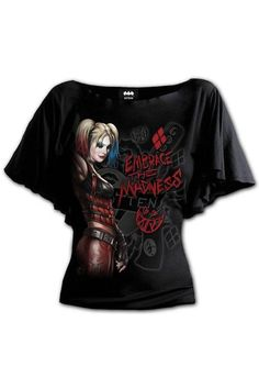 Harley Quinn - Embrace Madn... Gothic Tops, Bat Sleeve, Dark Fashion, Boat Neck, Harley Quinn, Black Tops, Fashion Outfits, Shirts, Clothes