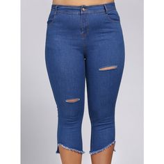 Womens plus size capris-Size 26-Venezia-Light blue denim stretch ...