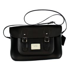 12.5 Inch Charcoal Black Leather Satchel
