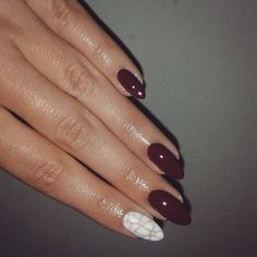 Dark red and white mosaic almond nails