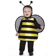 Buzzy Bee: A One Step Ahead Exclusive! Create a buzz, in this honey of a bumble bee costume! Our striped bubble suit is padded to hold its shape, and features attached mesh wings. Includes antennae headpiece. Black velour jumpsuit included, so you're all set to take flight. Both jumpsuit and headpiece feature soft, hook 'n loop fasteners for easy dressing. Wings secure to the shoulders to stay in place.