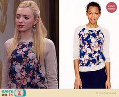 Emma's floral front sweater on Jessie.  Outfit Details: http://wornontv.net/37299/ #Jessie
