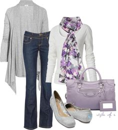 Purple and Gray, created by styleofe on Polyvore