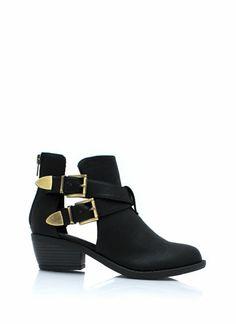 Keep-'Em-Perforated-Booties BLACK TAUPE - GoJane.com