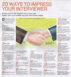 Uncle Chans discourse: 20 Ways To Impress Your Interviewer