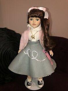 Katie Sock Hop Poodle Skirt Porcelain Doll Heritage Signature Collection   | eBay Reborn Toddler Girl, Toddler Dolls, Porcelain Dolls For Sale, Sock Hop, Bride Dolls, Realistic Dolls, Pink Cardigan, Signature Collection, Girl Dolls
