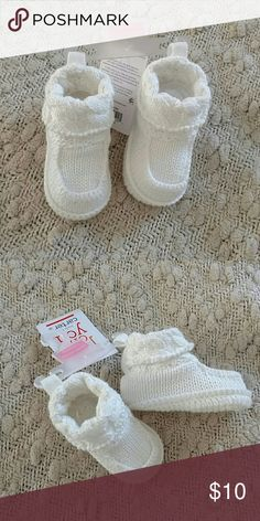 White Crochet NB Booties NWT Super adorable white crochet baby booties. Soft crochet, soft bottom with high ankle. Bought these for my son's baptism but his feet were too big even when he was born! Unisex design and color! Carter's Shoes Baby & Walker