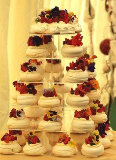 Aubrey's meringue wedding cake with edible flowers