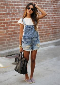 Ripped Shorts Overalls and White T-Shirt #style